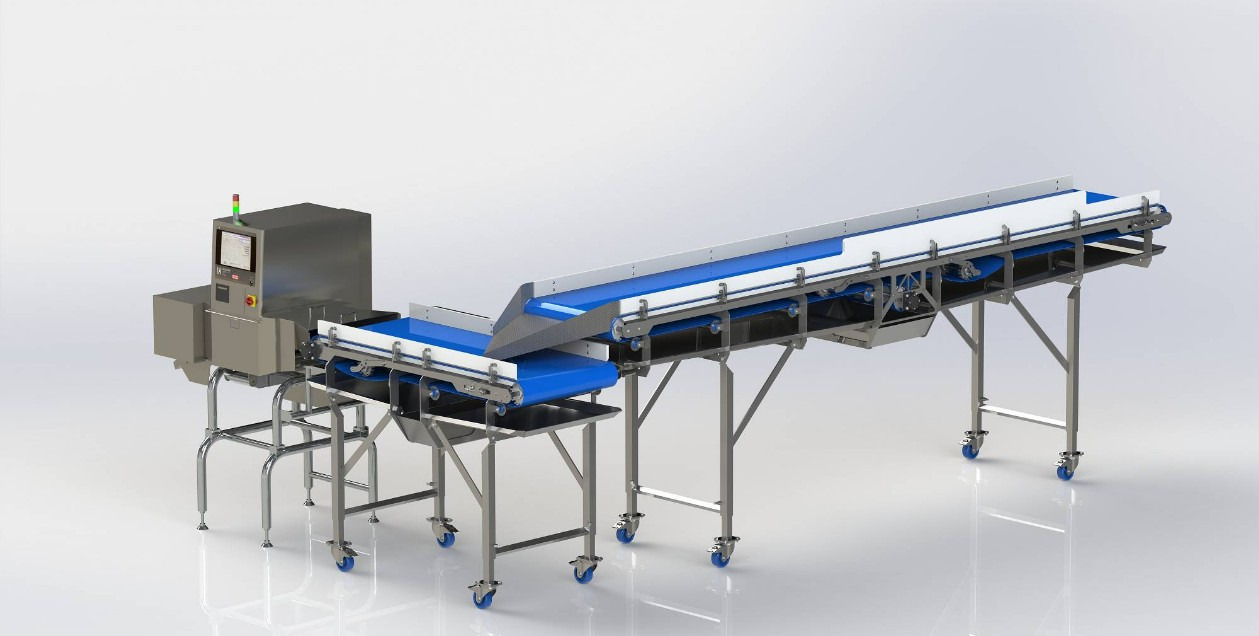 Conveyor with X-ray control unit